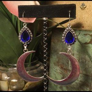 Long blue quartz and crescent moon earrings